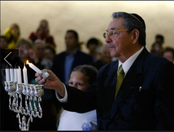 Francisco, Ismael. Cuba's President Raul Castro lights a Hanukkah candle during a ceremony at the Bet Shalom synagogue in Havana, Cuba, Sunday, Dec. 5, 2010. 2010. Web. 18 Dec. 2014.