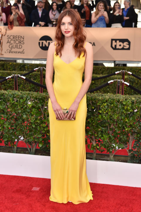 AP. Hannah Murray in Charlie Brear. 2016. Web. 30 Jan. 2016. http://www.harpersbazaar.com/celebrity/red-carpet-dresses/g6789/the-best-of-the-2016-screen-actors-guild-awards-arrivals/?slide=33.