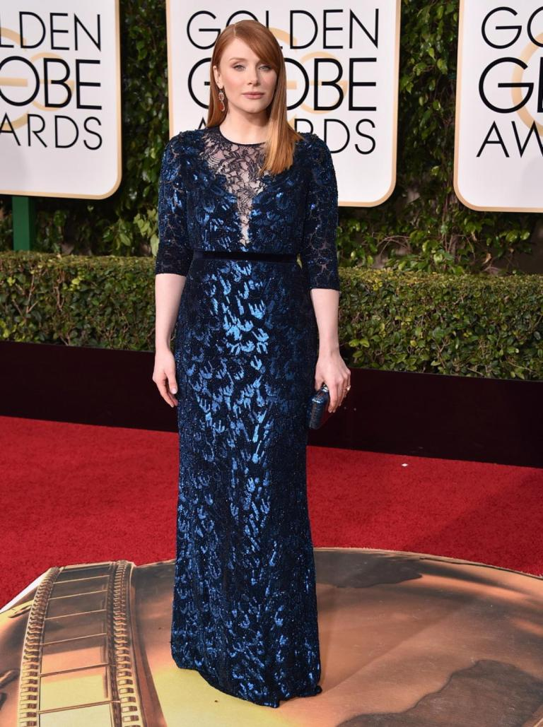 Strauss, Jordan. Bryce Dallas Howard in Jenny Packham. 2016. Web. 11 Jan. 2016. http://www.nydailynews.com/entertainment/golden-globes-2016-best-worst-red-carpet-gallery-1.2491685?pmSlide=1.2491712.