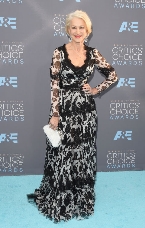 Merritt, Jason. Helen Mirren in Dolce & Gabbana. 2016. Web. 18 Jan. 2016. http://www.harpersbazaar.com/celebrity/red-carpet-dresses/g6732/the-best-dressed-at-the-critics-choice-awards/?slide=23.