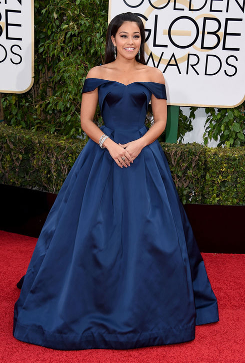 Gina Rodriguez in Zac Posen. 2016. Web. 11 Jan. 2016. http://www.glamour.com/fashion/blogs/dressed/2016/01/golden-globes-fashion-red-carpet.