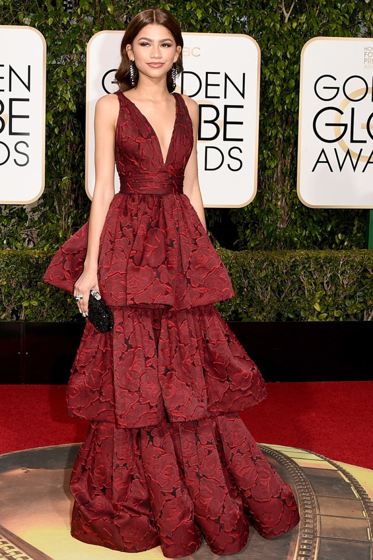 Zendaya in Marchesa. 2016. Web. 11 Jan. 2016. http://www.vanityfair.com/style/photos/2016/01/golden-globes-2016-red-carpet-fashion.