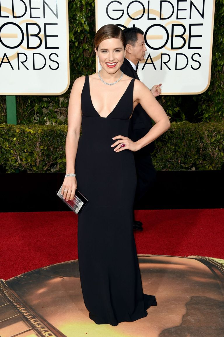 Sophia Bush in Narciso Rodriguez. 2016. Web. 11 Jan. 2016. http://celebmafia.com/sophia-bush-2016-golden-globe-awards-beverly-hills-456771/.