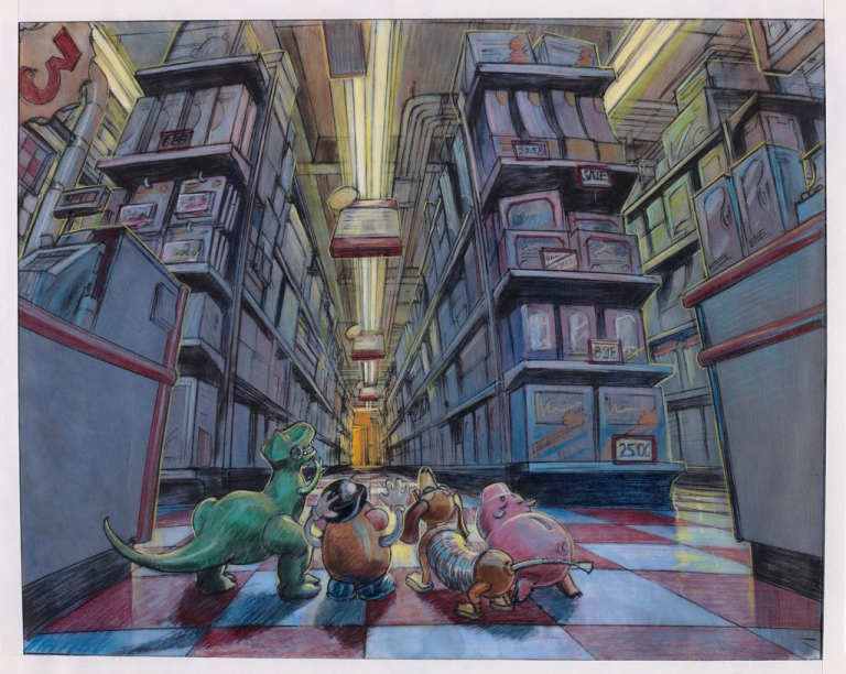 Berrett, Randy. Concept Art, Al's Toy Barn Interior, Toy Story 2, 1999. 1999. Web. 10 Feb. 2016. https://collection.cooperhewitt.org/objects/136252005/.