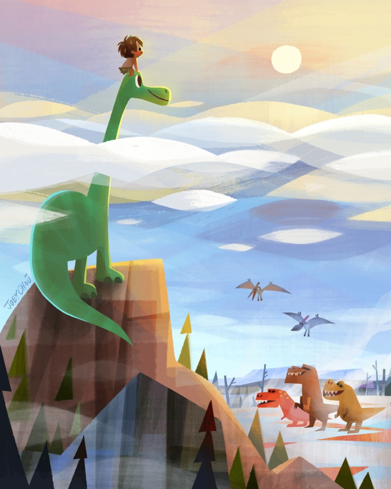 Chou, Joey. 2015. Web. 5 Feb. 2016. http://joeyart.tumblr.com/post/132631830357/heres-the-2nd-image-for-the-good-dinosaur-art.