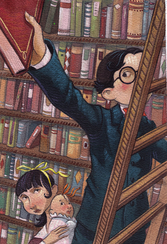 Helquist, Brett. Baudelaires in Library. Web. 21 Apr. 2016. https://www.etsy.com/ca/listing/115774019/baudelaires-in-library?ref=listing-shop-header-0.