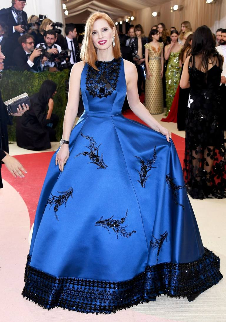 Busacca, Larry. Jessica Chastain in Prada. 2016. Web. 4 May 2016. http://www.usmagazine.com/celebrity-style/pictures/met-gala-2016-red-carpet-fashion-what-the-stars-wore-w204308/jessica-chastain-w204912.