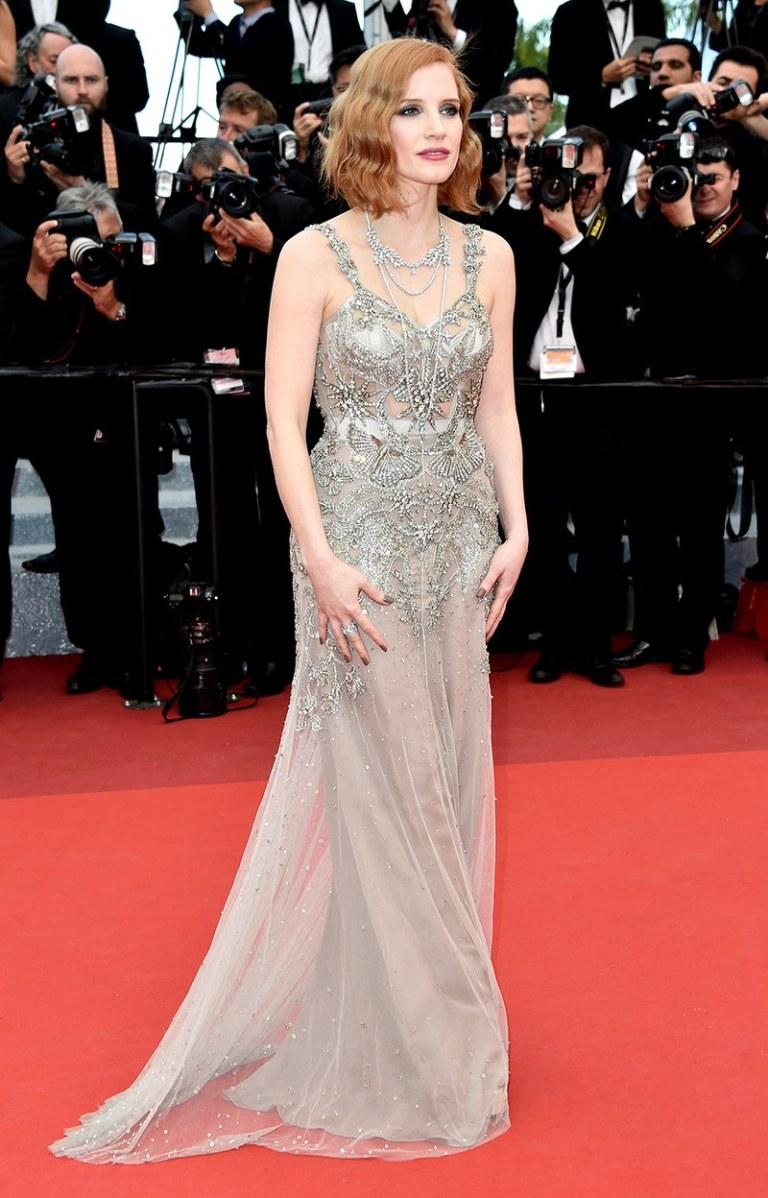Le Segretain, Pascal. Jessica Chastain in Alexander McQueen. 2016. Web. 15 May 2016. http://www.vanityfair.com/style/photos/2016/05/cannes-red-carpet-best-dressed-2016#21.