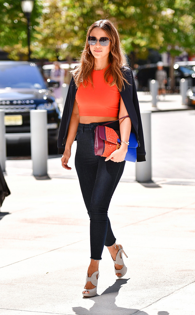 Devaney, James. Jessica Alba in a Halston Heritage Top, DL1961 Jeans, & Nicholas Kirkwood Shoes. 2016. Web. 18 Sept. 2016. http://www.eonline.com/photos/19409/best-celeb-street-style-from-nyfw-spring-2017/718200.